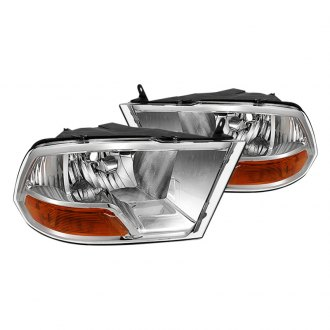 Spyder® - Chrome Euro Non Quad Headlights with Amber Reflectors