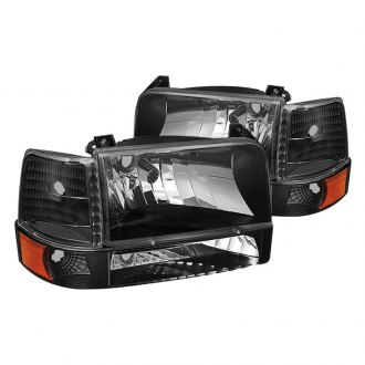 Spyder® - Black Euro Headlights with Corner Bumper Lights and Amber Reflectors