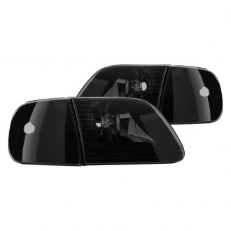 Spyder® - Black Smoke Euro Headlights with Corner Lights