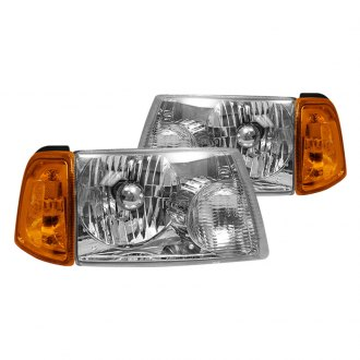 Spyder® - Chrome Euro Headlights with Corner Lights and Amber Reflectors