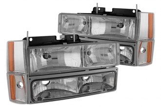 Spyder® - Chrome Euro Headlights with Corner Bumper Lights