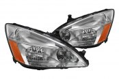Spyder® - Chrome Crystal Headlights with Amber Reflectors
