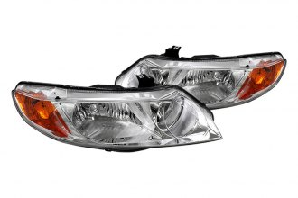 Spyder® - Chrome Euro Headlights with Amber Reflectors