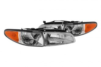 Spyder® - Chrome Euro Headlights with Amber Corner Lights