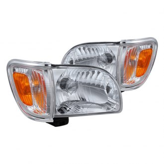 Spyder® - Chrome Euro Headlights with Amber Corner and Side Marker Lights