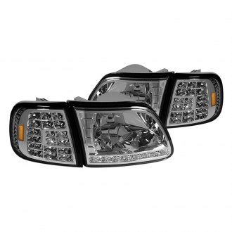 Spyder® - Chrome Euro Headlights with LED Corner Lights