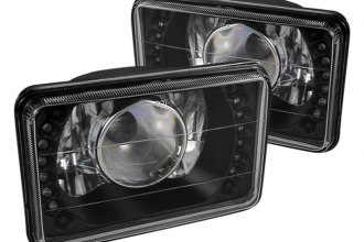 "Spyder® - 4x6"" Rectangular Black Projector Headlights with LEDs"