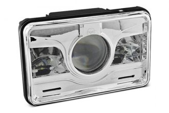 "Spyder® - 4x6"" Rectangular Chrome Projector Headlights with LEDs"