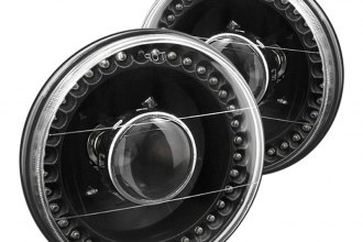 "Spyder® - 7"" Round Black Projector Headlights with LEDs"