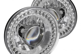 "Spyder® - 7"" Round Chrome Projector Headlights with LEDs"