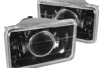 "Spyder® - 4x6"" Rectangular Black Projector Headlights"