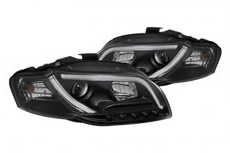 Spyder® - Black Projector Headlights with Light Tube DRL G2