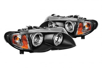 Spyder® PRO-YD-BMWE4602-4D-AM-BK - Black Halo Projector Headlights with Amber Reflectors