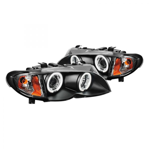 Spyder® - Black CCFL Halo Projector Headlights with Amber Reflectors