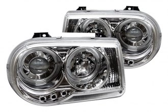Spyder® PRO-YD-C300C-HL-C - Chrome Halo Projector Headlights with LEDs