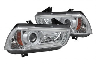 Spyder® PRO-YD-DCH11-LTDRL-HID-C - Chrome Projector Headlights with Light Tube DRL