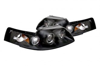 Spyder® PRO-YD-FM99-1PC-AM-BK - Black Halo Projector Headlights with Amber Reflectors