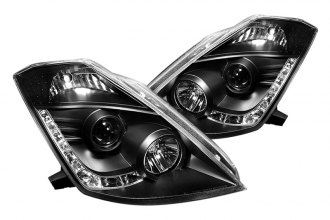 Spyder® PRO-YD-N350Z02-HID-DRL-BK - Black Projector Headlights with LEDs