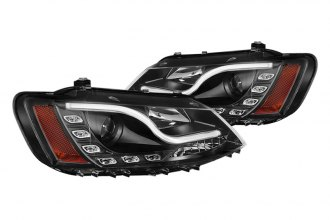 Spyder® - Black Projector Headlights with Light Tube DRL