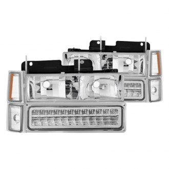 Spyder® - Chrome Euro Headlights with LED Turn Signal/Parking Lights