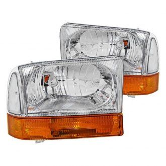 Spyder® - Chrome Euro Headlights with Amber Bumper Lights