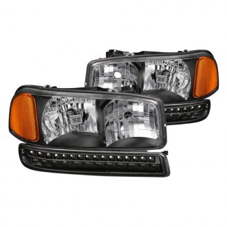 Spyder® - Black Euro Headlights with LED Turn Signal/Parking Lights