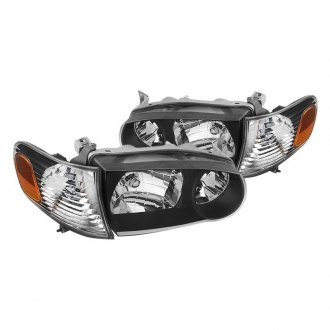 Spyder Black Euro Headlights With Amber Corner Lights