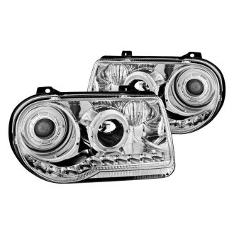 Spyder® - Chrome Halo Projector Headlights with LED DRL