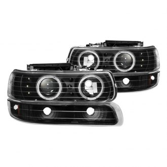 Spyder® - Black Halo Projector Headlights with Bumper Lights