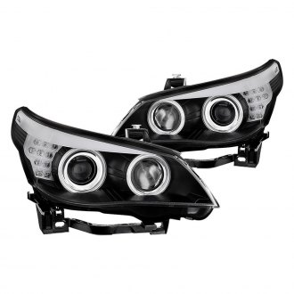 Spyder® - Black DRL Bar CCFL Halo Projector Headlights with LED Turn Signal