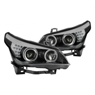 Spyder® - Black DRL Bar Dual Halo Projector Headlights with LED Turn Signal