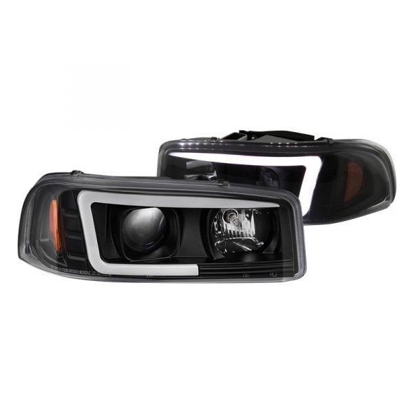 spyder gmc sierra 1500 2002 black led drl bar projector headlights spyder black led drl bar projector headlights
