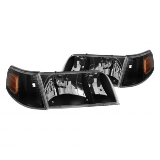 Spyder® - Black Euro Headlights with Corner Lights