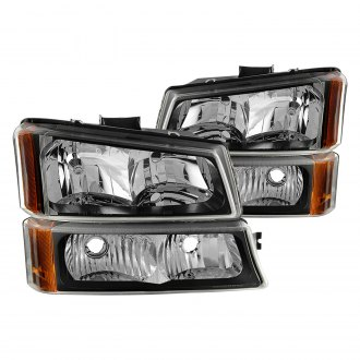 Spyder® - Black Euro Headlights with Bumper Lights