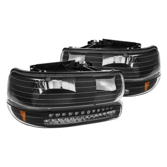 Spyder® - Black Euro Headlights with Amber LED Bumper Lights