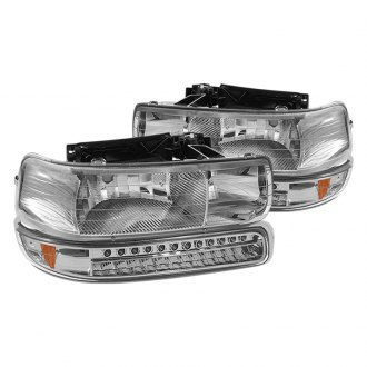 Spyder® - Chrome Euro Headlights with Amber LED Bumper Lights