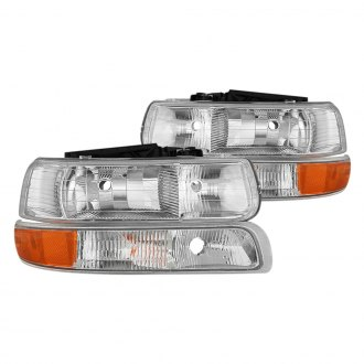 Spyder® - Driver and Passenger Side Chrome Factory Style Headlights with Bumper Lights