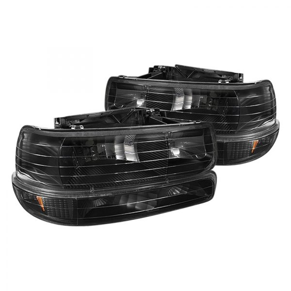 Spyder® - Black Euro Headlights with Amber Bumper Lights