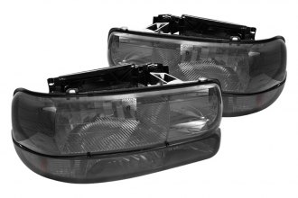 Spyder® - Chrome/Smoke Euro Headlights with Amber Bumper Lights
