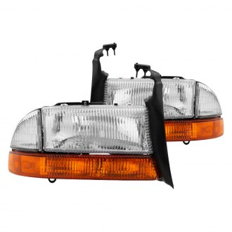 Spyder® - Driver and Passenger Side Chrome Factory Style Headlights with Amber Bumper Signal Lights