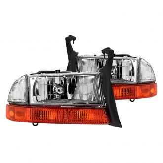Spyder® - Chrome Euro Headlights with Amber Bumper Signal Lights