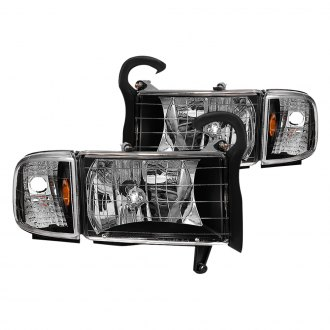 Spyder® - Driver and Passenger Side Black Factory Style Headlights with Corner Lights