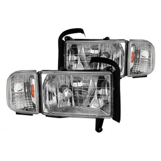 Spyder® - Driver and Passenger Side Chrome Factory Style Headlights with Corner Lights