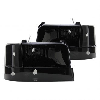 Spyder® - Black/Smoke Euro Headlights with Amber Corner Bumper Lights
