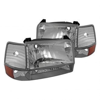 Spyder® - Chrome Euro Headlights with Corner Bumper Lights and Amber Reflectors