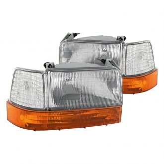 Spyder® - Chrome Euro Headlights with Amber Corner Bumper Lights