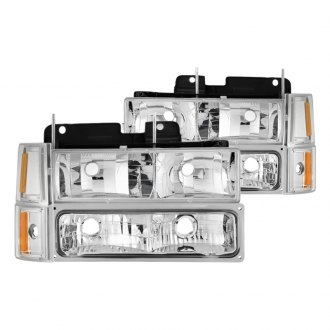 Spyder® - Chrome Euro Headlights with Corner and Parking Lights