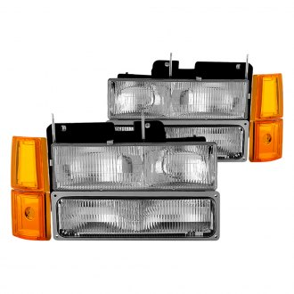 Spyder® - Driver and Passenger Side Chrome Factory Style Headlights with Amber Corner Lights