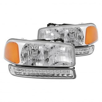 Spyder® - Chrome Euro Headlights with LED Bumper Lights