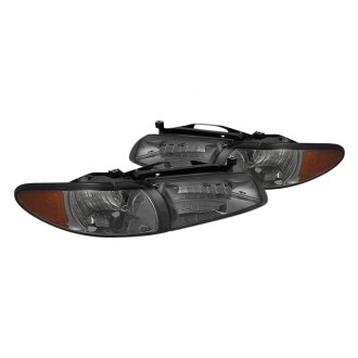 Spyder® - Chrome/Smoke Euro Headlights with Amber Corner Lights